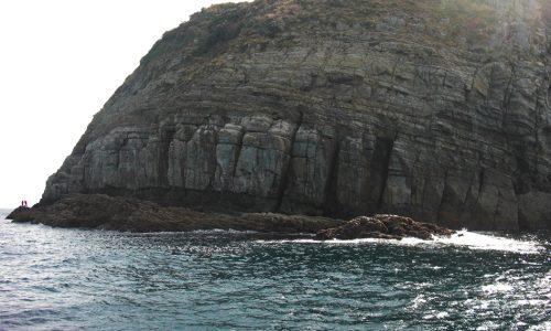 腹パンパンの良型クロ、美良島(ヘリコプター)
